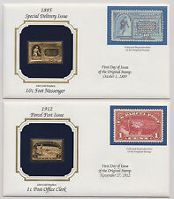 US 1885-1912 2 Covers Parcel Post Special Delivery 22k Gold Replica Stamps |