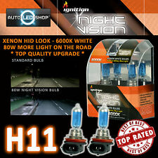 IGNITION H11 80W NIGHT VISION SUPER WHITE XENON HID HEADLIGHT BULBS 6000K