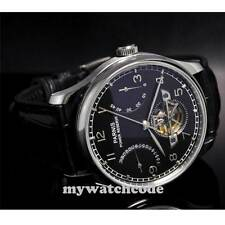 parnis black dial power reserve date seagull movement automatic mens watch P20