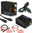 Digital Optical Toslink Coax to Analog L/R RCA Audio Converter Adapter +Cable MN