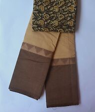 South Cotton pure handloom saree with Kalamkari bp  sand colour