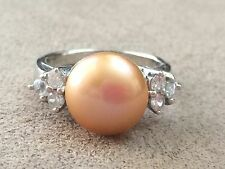 Golden Pearl Sterling Silver ring with Cubic Zirconias on either side size 8