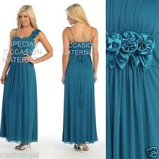 New Long Teal Maternity Wedding Dress Roses MEDIUM Bridal Evening Gown Chiffon