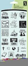INKADINKADO Clear Stamps SUNDAY SCHOOL INCHIE 60-30447 Jesus Lives Rejoice Peace