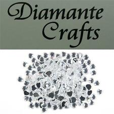 200 x 4mm Clear Hearts Diamante Loose Flat Back  Rhinestone Nail and Body Gems