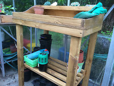 wooden potting table. solid,bespoke for garden - greenhouse - potting shed