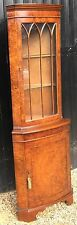 Walnut Veneer Corner Display Cabinet With Cupboard Below