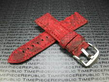 22mm PYTHON Skin Leather Strap Red Band Tang Buckle Seamaster