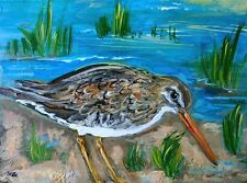 "ORIGINAL SANDPIPER BIRD Mini 3x4"" PAINTING Wildlife Beach Snipe Summer ACEO ART"
