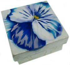 Kubla Crafts Capiz Shell Blue Pansy Flower Trinket Jewelry Gift Change Box