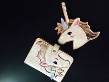 Shiny pink unicorn Passport Womens documents folder bag mini wallet luggage tag