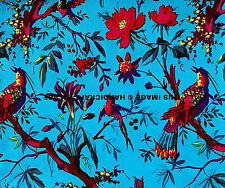"Bird Nature Print Fabric 44"" Wide Pure Cotton Crafting Indian Material 5 Yard"