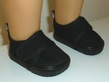 """Fits 18"""" American Girl or Boy Doll Clothes Black Casual Canvas Strap Shoes"""