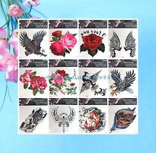 """wholesale 12 sheet eagle rose extra large 9""""x9"""" Temp Tattoos for Adults"""