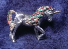Pewter FLORAL UNICORN with Green Crystal Eyes - RED Roses