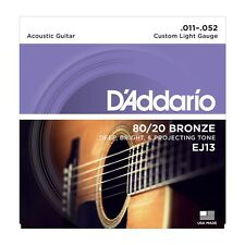 D'Addario EJ13 Acoustic Guitar Strings Medium 13-56 80/20 Bronze EJ 13 Daddario
