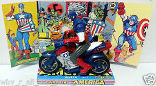 CAPTAIN AMERICA Motorbike Avenger Superhero ACTION FIGURE on Custom Display
