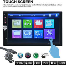"7"" 2DIN Bluetooth Touch InDash Car Radio Stereo MP3 MP5 Player GPS FM/USB/TF+CAM"