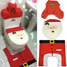 3 Pcs Christmas Decorations Happy Santa Toilet Seat Cover and Rug Bathroom Set