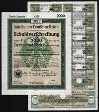 1922 Berlin, Germany: German 2000 Mark Treasury Bond - uncancelled with coupons