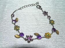 Used Pink & Purple Plastic Rhinestone Flowers on SIlvertone Chain Bracelet  –