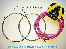 "Kit Freno Guaina Rosa + 2 Cavi + Terminali per bici 27,5""-29"" MTB Mountain Bike"