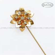 Buy 2 Get 1 Free 3D Flower Rhinestone Golden Suit Corsage Lapel Stick Pin Brooch