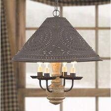 Homespun Colonial Shade Light in Pearwood | Primitive Country Wooden Chandelier
