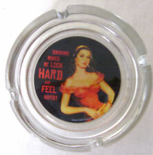 10cm Novelty Glass Ashtray Smoking Makes Me Look Hard and Feel Hard Lady Smoking