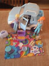 Polly Pocket Lot Dolls Girls Jeep Car Vehicle Blue Picnic Camp Accessories X47