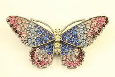Vtg Kenneth Jay Lane KJL Jewelry Rhinestone Rare Celestial Butterfly Brooch Pin