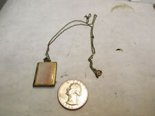 """Gold Filled & Mother of Pearl Locket Pendant Charm Photo Book w Chain 9"""", Estate"""
