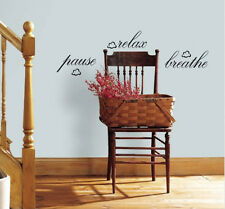 Quote: PAUSE RELAX BREATHE wall stickers room decor 6 decals inspirational