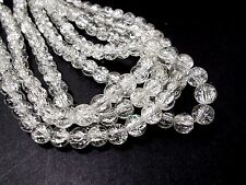 110pcs 8mm CRACKLE Glass Round Beads - CLEAR / WHITE ( 1 strand )