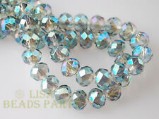 50pcs 4x6mm Faceted Rondelle Crystal Glass Loose Spacer Bead Green Colorized