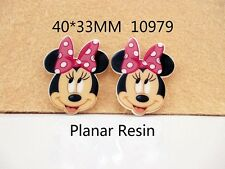 5 x 40mm MINNIE MOUSE WITH PINK BOW LASER CUT FLAT BACK RESIN HEADBANDS BOWS