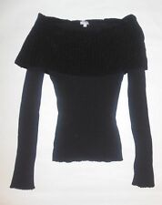WOW COUTURE WOMENS SWEATER BLACK OFF SHOULDER LONG SLEEVES COLLAR FOLD DOWN SZ L