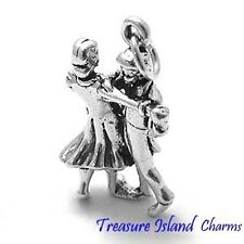 MAN AND WOMAN COUPLE DANCING WEDDING DANCE 3D .925 Solid Sterling Silver Charm