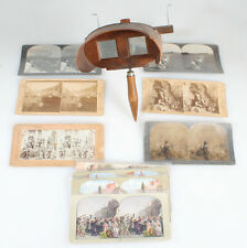 ANTIQUE STEREOSCOPE STEREOPTICON VIEWER WITH STEREOVIEWS,19TH CENTURY.