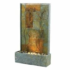 Fountain Waterfall indoor outdoor water copper slate table floor stone light NEW