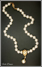 "BEAUTIFUL CLASSIC 16"" PEARL & CRYSTAL GOLD NECKLACE. GREAT GIFT IDEA!"