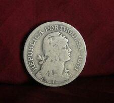 1931 Portugal 1 Escudo Copper Nickel World Coin KM578 Liberty Head Shield Azores