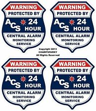4 Alarm SECURITY Video Decals Apply Inside Window Front Adhesive Sticker Sign