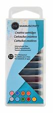 12 MANUSCRIPT CREATIVE INK CARTRIDGES ASSORTED COLOURS FOR FOUNTAIN PEN 0462ASC