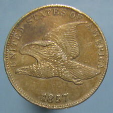 1857 Flying Eagle Cent - Sharp Brown AU with Great Feather Detail!