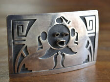 Vintage Hopi Sterling Silver Mudhead Overlay Belt Buckle by Lawrence Saufkie