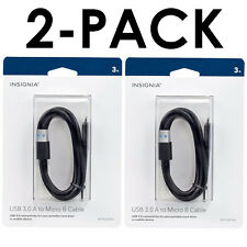 (2-Pack) Insignia USB 3.0 Cable A to Micro B WD My Passport WD Elements Drives