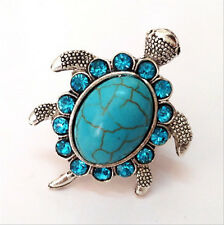 Stylish Jewelry Sky Blue Crystal Tibetan Silver Turquoise Turtle Ring Adjustable