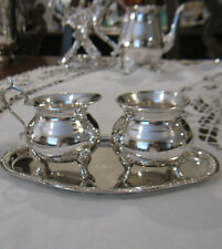 SUGAR, CREAMER & TRAY~SILVER PLATED~ESTATE SALE~VINTAGE~ FOOTED~SMALL ~CATERING
