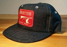 NOS Vtg 70's Denim Snapback Trucker Hat Construction Concrete Road Advertisement